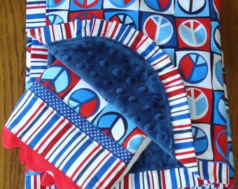 On Clearance - Red White and Blue Peace Sign Minky Blanket and Burp Cloth Set