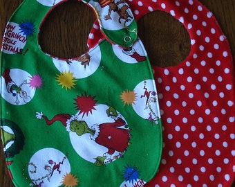 The Grinch Dr. Seuss Christmas Minky Baby/Toddler Bib