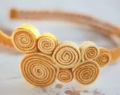 swirly yellows coil headband