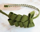 Ribbon Candy headband in Olive green