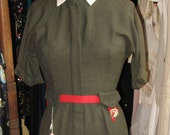 RESERVED Vintage NOS 50s 60s Army Green, Military inspired fitted wiggle dress with insignia charm, zip front and hang tags.  xs or junior