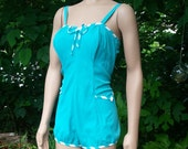 Vintage1950s Jantzen Retro Swimsuit. Turquoise Blue, White stripes and bow Pinup Romper. Large XL