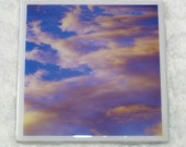Purple Cloud 4x4 inch Ceramic Coaster Photographic Art Tile by CosmicSky