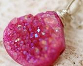 Druzy Necklace - Druzy Jewelry - Pink Druzy - Wire Wrapped Druzy