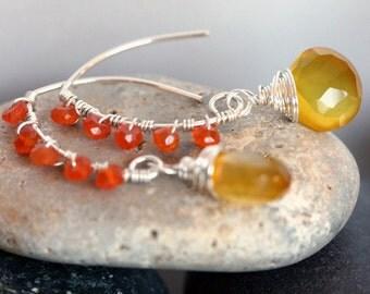 Yellow Earrings - Chalcedony Earrings - Yellow and Orange Earrings - Summer Jewelry