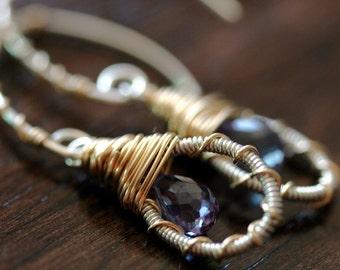 Purple Earrings - Hoop Earrings -  Wire Wrapped Earrings
