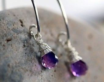 Purple Briolette Earrings - Silver and Purple Earrings - Purple Quartz Earrings- Purple Stone Earrings