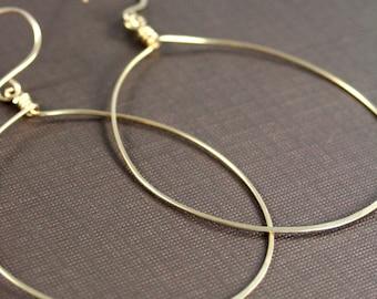 Large Gold Hoop Earrings, Handmade Gold Hoop Earrings, Hammered Gold Earrings, Big Round Earrings