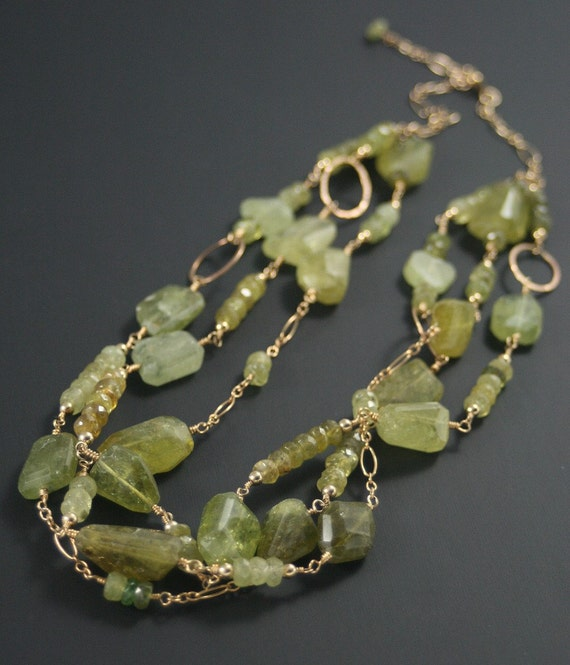 Multi Strand Necklace, Green Stone Necklace, SALE, Garnet Necklace, Layered Necklace, Statement Necklace, Gemstone Necklace, Gold Necklace