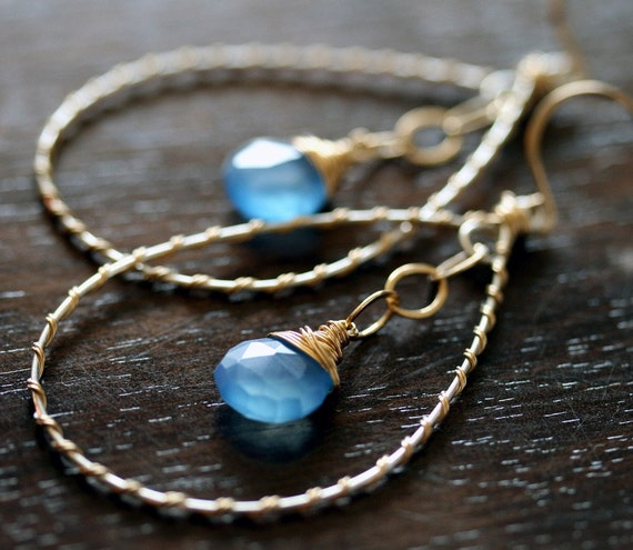 Hoop Earrings - Hoop Earrings with Blue Stone -  Chalcedony Earrings