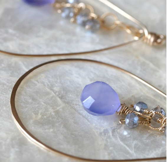 Chalcedony Earrings - Gold Hoop Earrings - Chalcedony Jewelry - Periwinkle Chalcedony