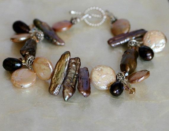Pearl Bracelet, Brown Bracelet, Crystal Bracelet, Pearl Charm Bracelet, Eclectic Bracelet, Toggle Bracelet, Swarovski Crystal Bracelet