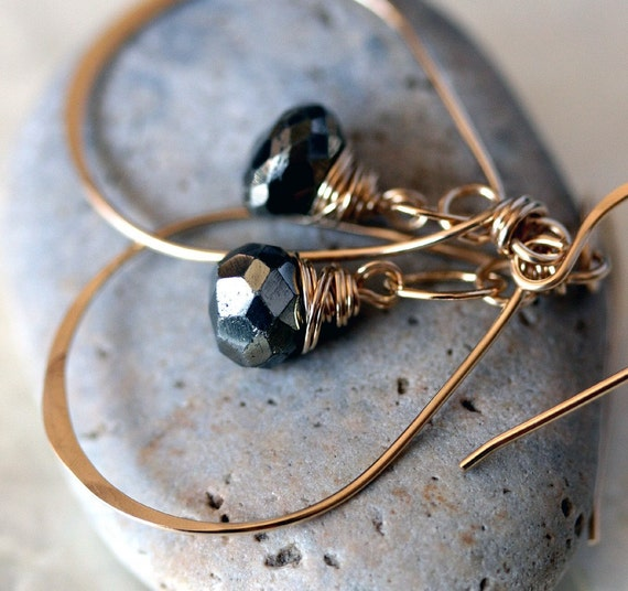 Small Gold Hoop Earrings - Pyrite Earrings - Pyrite Jewery - Hammered Gold Earrings