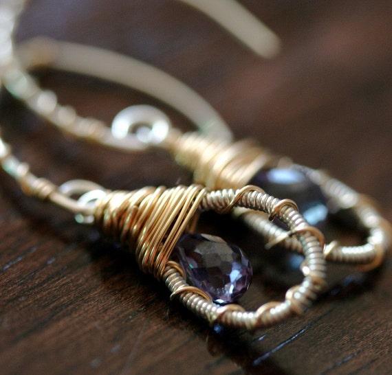 Dangle Earrings, Small Earrings, Wire Wrapped Earrings, Mixed Metal Earrings, Open Hoop Earrings, Quartz Earrings, Briolette Earrings