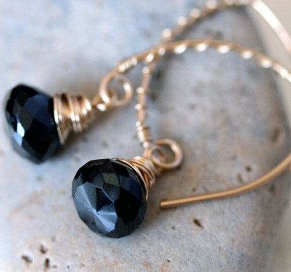 Black Garnet Earrings, Open Hoop Earrings, Black Stone Earrings, Black Briolette Earrings, Black and Gold Earrings, Small Earrings