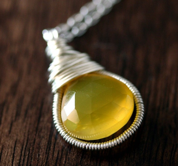 Chalcedony Necklace - Yellow Chalcedony Necklace - Yellow Stone Necklace - Chalcedony Jewelry