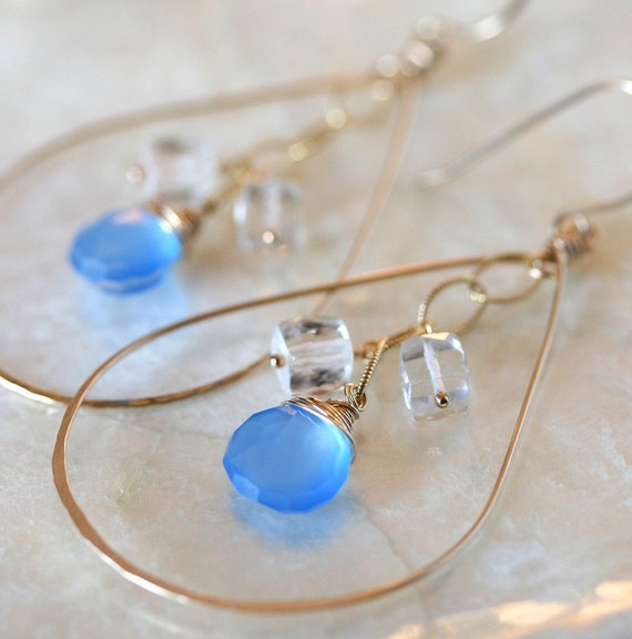 Hoop Earrings, Chalcedony Earrings, Crystal Earrings, Blue Stone Earrings, Blue Hoop Earrings, Something Blue, Blue Chalcedony Earrings,