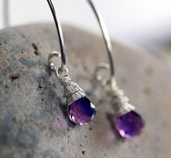 Purple Briolette Earrings - Silver and Purple Earrings - Purple Quartz Earrings- Purple Stone Earrings