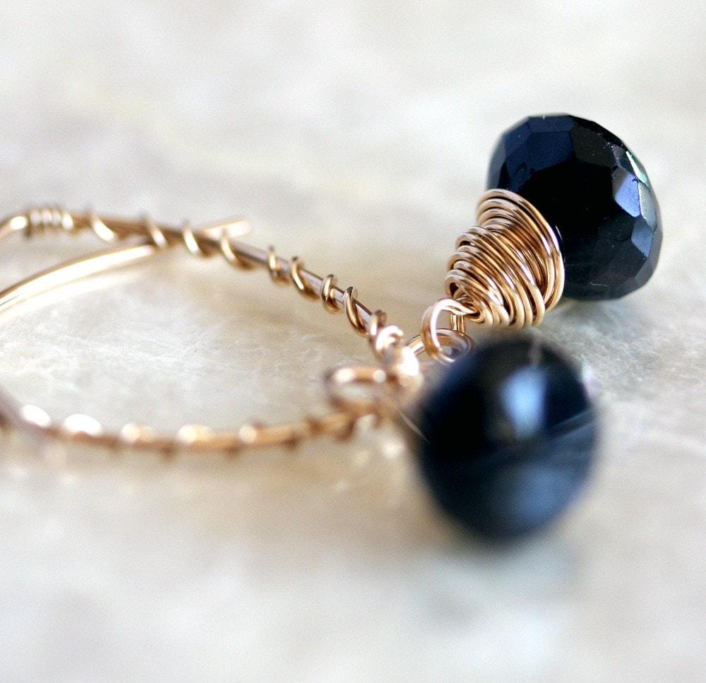 Black Stone Earrings: Black Garnet Earrings, Open Hoop Earrings, Black Stone