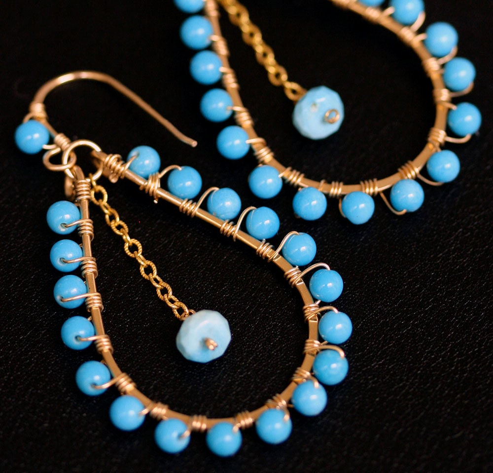 Sleeping Beauty Turquoise Earrings Gold By Lhjewelryboutique