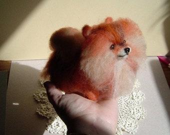 Custom Sculpture pet portrait Pomeranian dog handmade needle felted