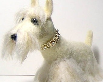 Custom Sculpture pet portrait Scottish terrier dog handmade needle felted