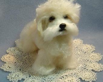 Bichon Cavalier Dog Custom Pet Sculpture needle felted art