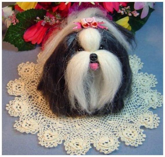 Custom Sculpture pet portrait Shih Tzu  dog handmade needle felted