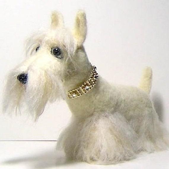Custom Sculpture pet portrait Scottish terrier dog handmade needle felted