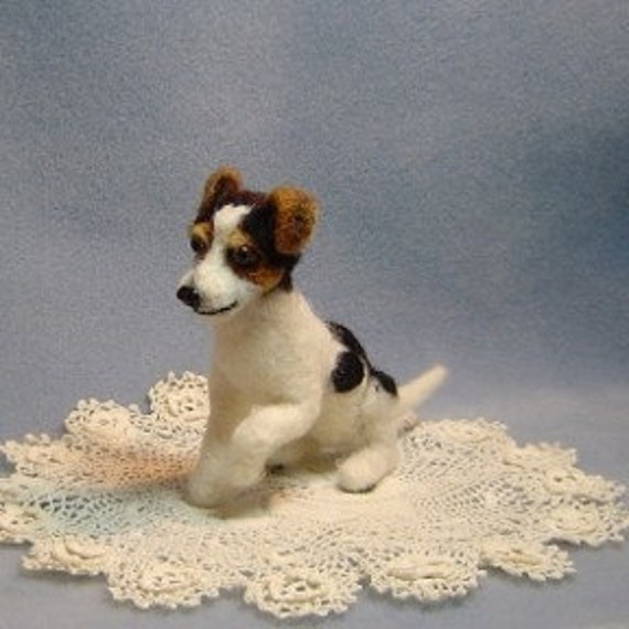 Custom Sculpture Pet portrait Jack Russell terrier needle felted dog