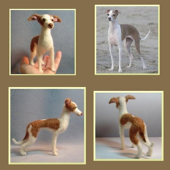 Custom needle felted dog Italian Greyhound portrait sculpture wool