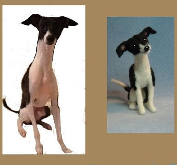 Needle felted Custom Dog sculpture  made to order Italian Greyhound pet art