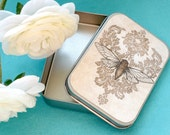 Large gift or jewelry tin from Cicada Song print