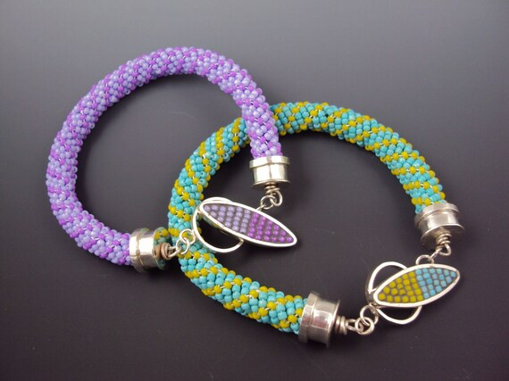 Beaded Bracelet in Purple or Turquoise