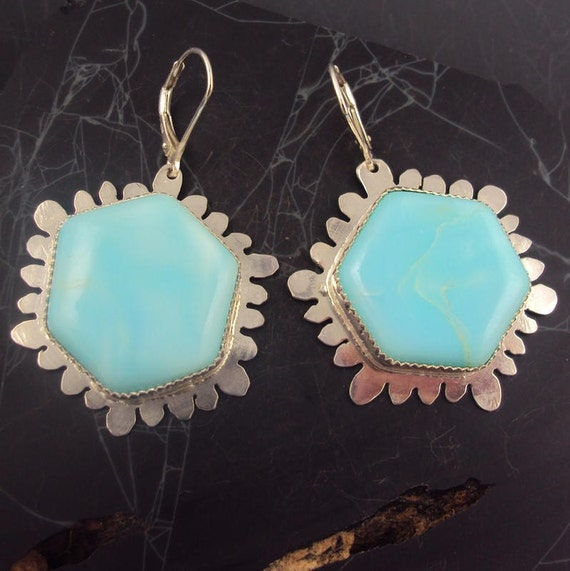 Peruvian Opal Flower Earrings
