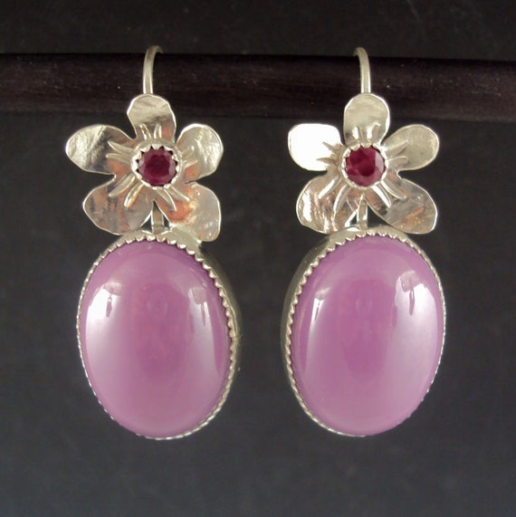 Purple Phosphosiderite Flower Earrings