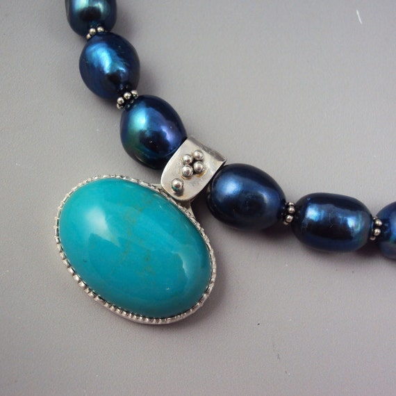 50 BUCK SALE Turquoise Pendant on Pearl Chain