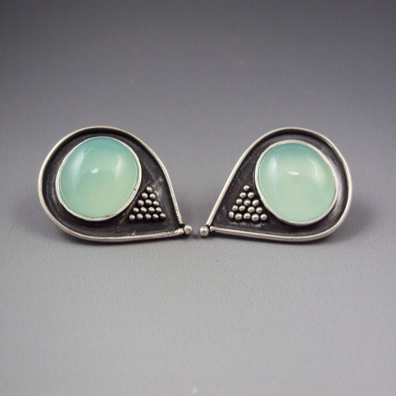 Granulated Chalcedony Earrings