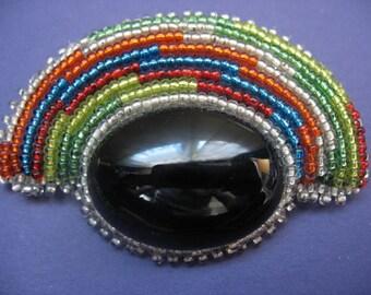 Rockin' Rainbow Black Onyx Brooch / Earrings Set