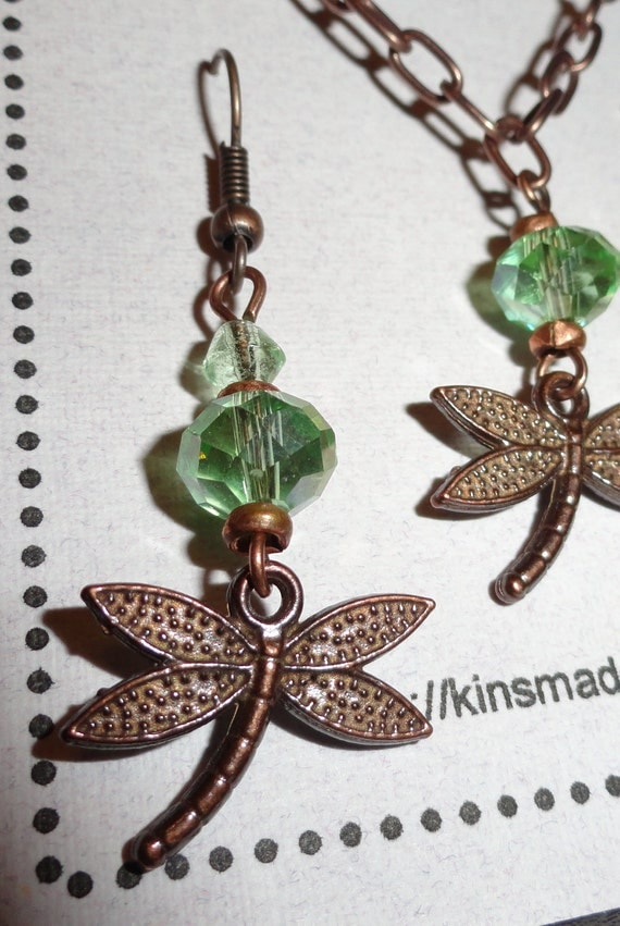 Pale Green Dragonfly Necklace & Earrings Set