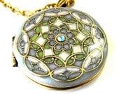 Teal Blue, Ivory Filigree Locket Necklace