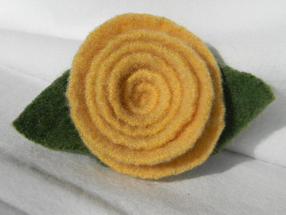 Felted Wool Yellow Rose Pin