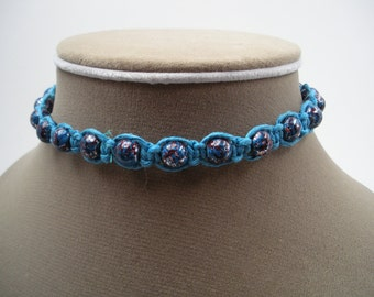 Blue Hemp Choker with Blue and Red Glass Beads