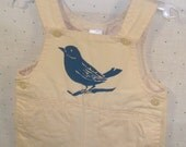 Curious Bird Reclaimed Hand Screen Printed Baby Boy Overalls, Newborn 0-3 months...