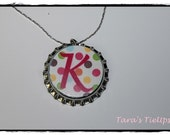 Personalized Inital Bottle Cap Necklace