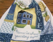 Home Is Where Your Story Begins Crochet Kitchen Towel with White Top