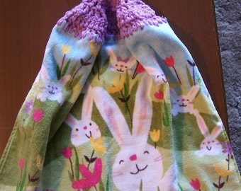 Bunnies and Flowers Crocheted Kitchen Towel