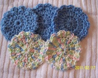 Crocheted Flower Baby Boy Scrubbies-set of 5