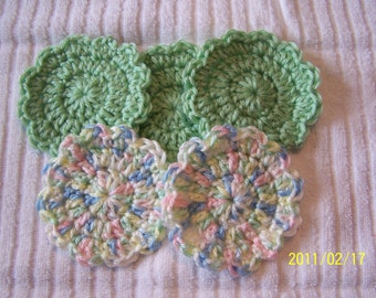 Crocheted Flower Baby Scrubbies - set of 5 - Green and Verigated
