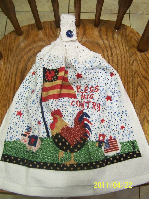 Bless This Country Rooster Crocheted Kitchen Towel